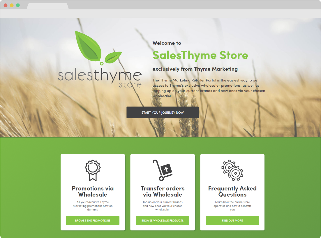 SalesThyme Store homepage shown in a broswer window as a screenshot
